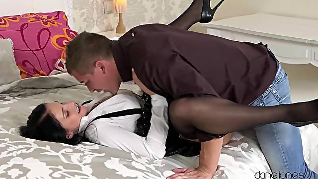 Insolent brunette on high heels, most impressive bedroom XXX