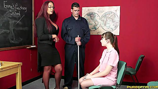 Hot female teacher gets working with cock alongside a shy student
