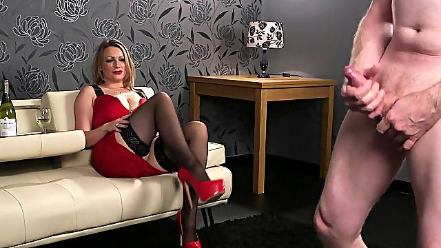 Sexy nude blonde in red dress, fine CFNM porn fetish