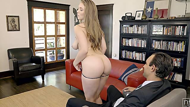 Elegant woman strips for cock in a dazzling office scene