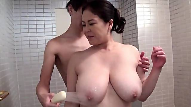 Busty Japan mature lady in scenes of shower sex and nude blowjob