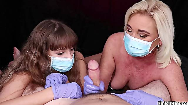 Bitches wear a mask when giving handjob during pandemic