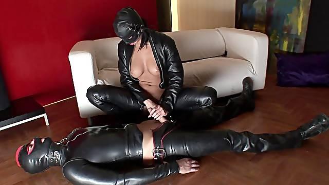 Full latex fantasy in scenes of female dominance