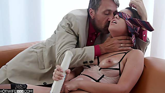 Older man roughly fucks this nude babe while she moans for more