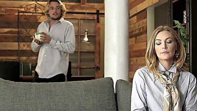 Appealing blonde babe goes full mode in younger man's energized penis