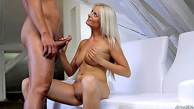 Insolent blonde sits naked and rides dick in charming modes