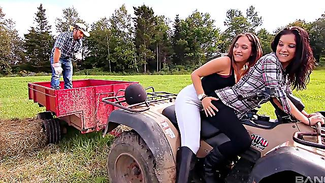 Skilled farm girls share guy's cock in crazy manners