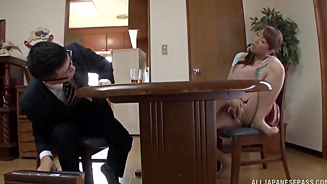 Strong inches for the Japanese wife during a house meeting