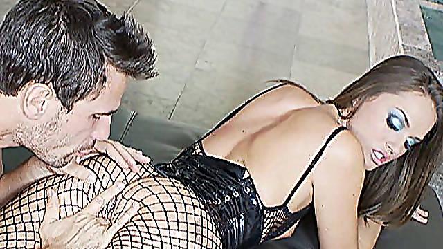 Latex corset on fuckable hottie