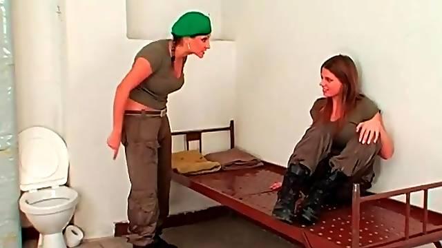 Army girls in rough lesbian femdom scene