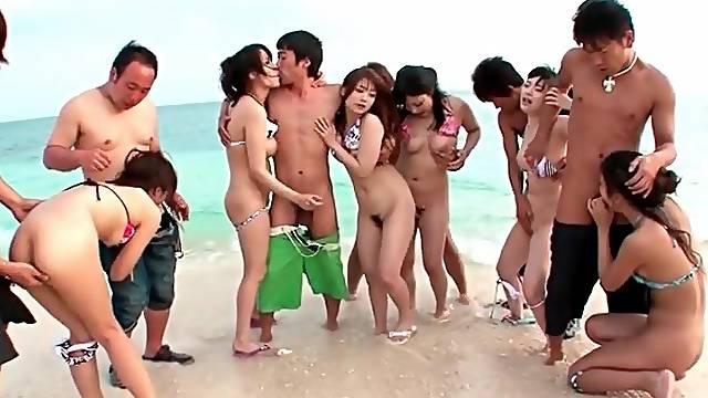 Bikini girls in Japanese orgy on the beach