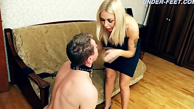 High heels and bare foot trampling
