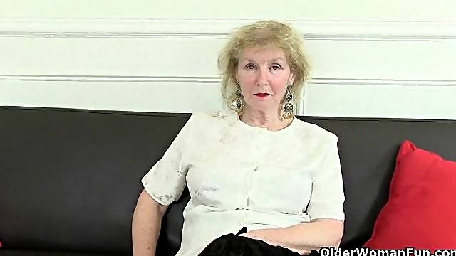 Granny surprises with her huge clit ring