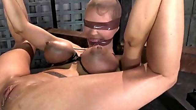 Tied tits turn blue as guys fuck her slutty ass