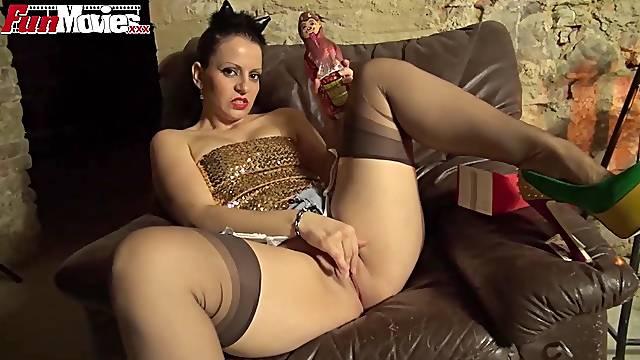 German busty Milf masturbating in the basement