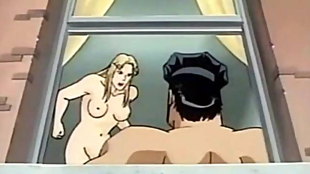 Cartoon cop fucks a hot blonde from behind
