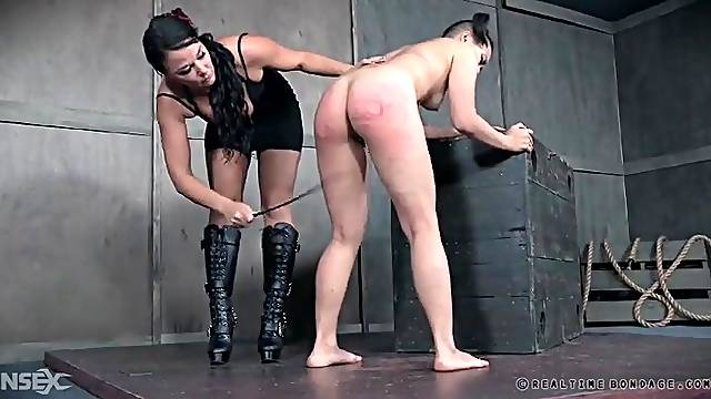 Caning and spanking leaves the girl in real pain