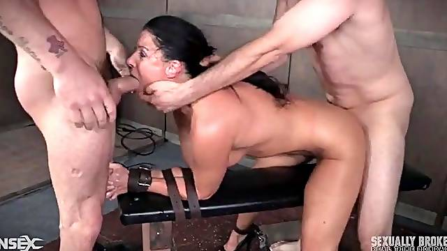 India Summer spit roasted in a BDSM threesome