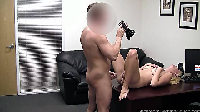 Tanned blonde cutie fucked and facialized by a big dick