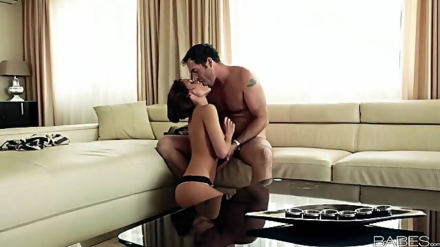 Sophie Lynx sucks cock and sits down on it
