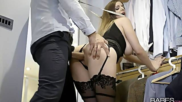 Hottie takes a huge cock from behind