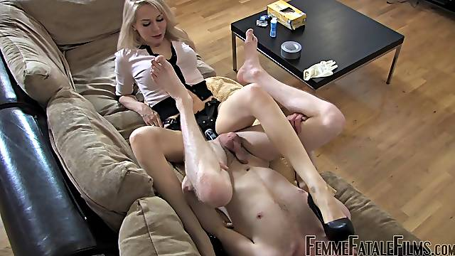 Dominant blonde ass fucks slave boy with huge strap-on toy