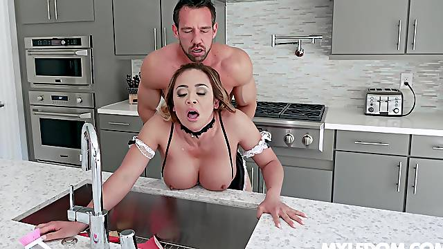Asian maid Mia Lelani gives it up to the man of the house