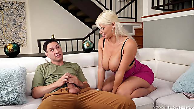 Mature works young lad's dick in full XXX home scenes