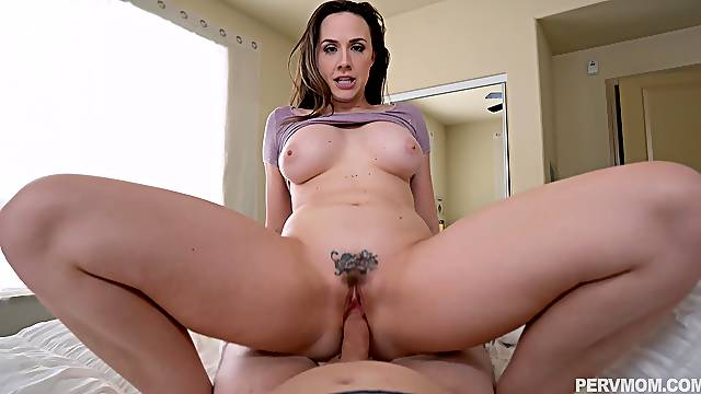 Aroused MILF rides step son's cock in full POV