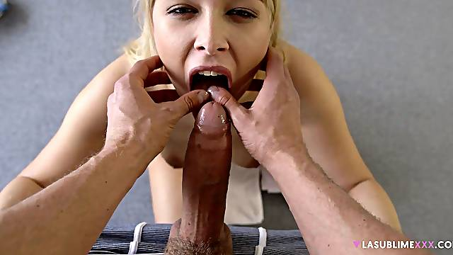 Aroused blonde kneels before cock for her dose of sex
