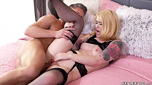 Blonde in black stockings, naughty bedroom XXX romance