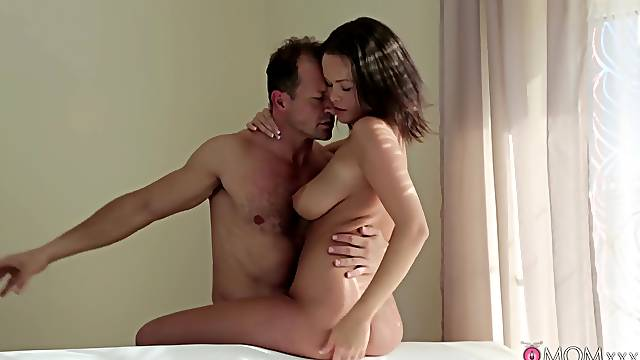Busty chick fucked by daddy and jizzed like a whore