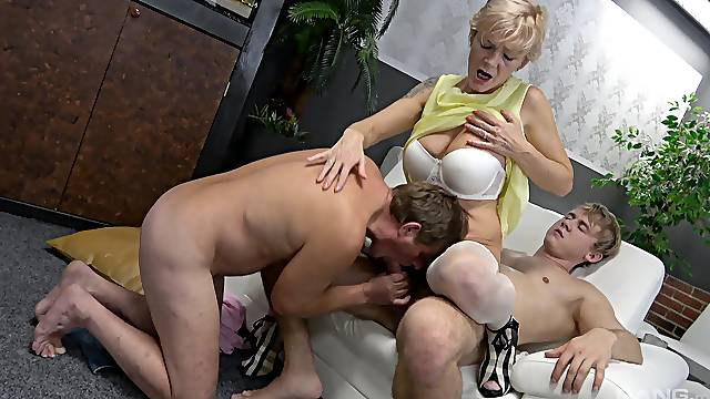 Granny deals both her man and their nephew in exclusive home threesome
