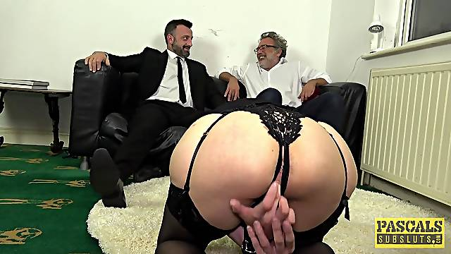 Gagged wife gets the big dick in scenes of BDSM cuckold