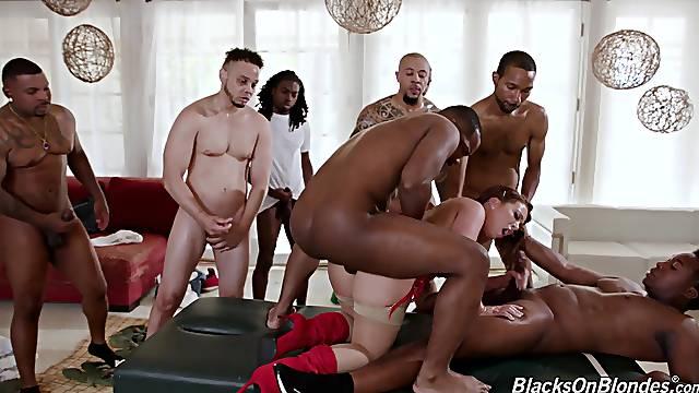 Big ass female ass fucked in black XXX interracial group fest