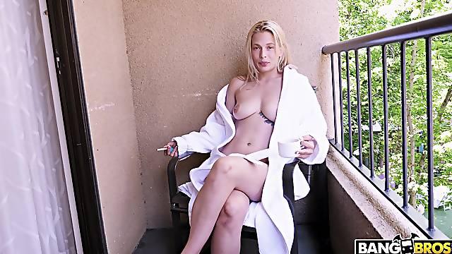 Sensual Sloan Harper finishes her cig before hardcore POV sex