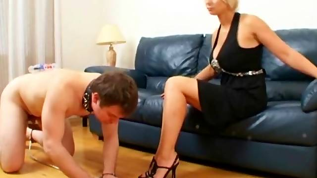 Kissing her sexy feet in high heels