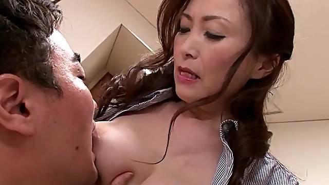 Sucking her nipples turns on Japanese chick