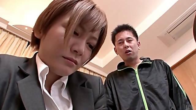 Cocksucking Japanese girl in white satin blouse