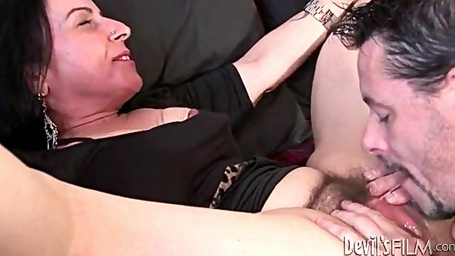Close up cunt licking with hairy mature pussy