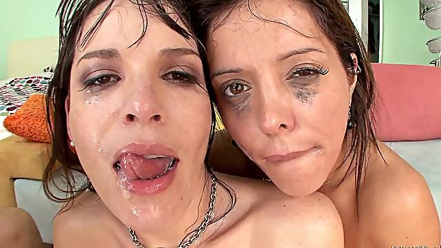 Sharing a thick dick pleases both Francesca Le and Dana DeArmond