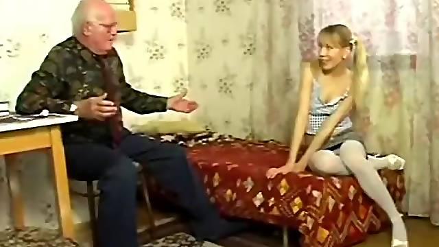 Blonde Teen Having Hardcore Sex with Grandpa