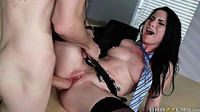 Hardcore fucking in the office with anal loving Veruca James