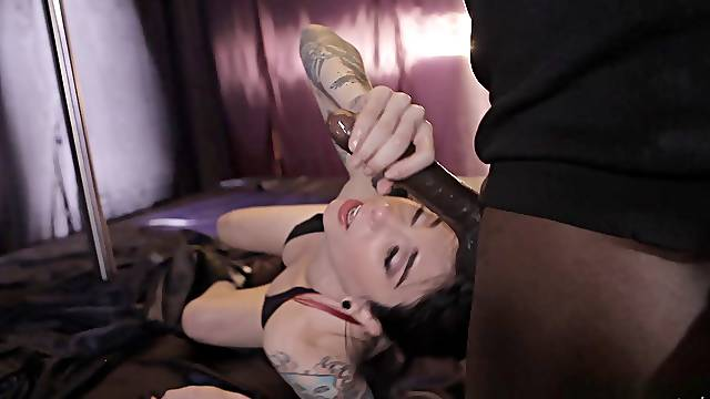 Tattooed chick Joanna Angel doesn't need more than a black cock