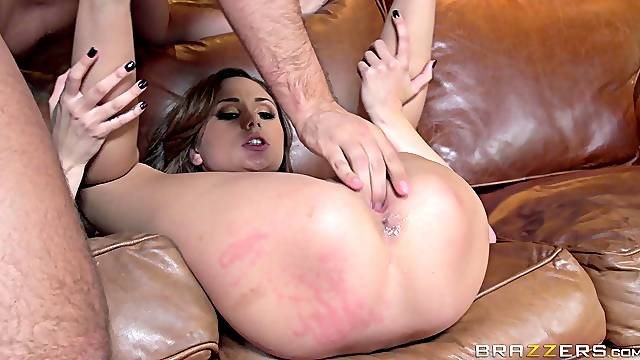 Good looking pornstar Ariana Marie spreads her legs to ride