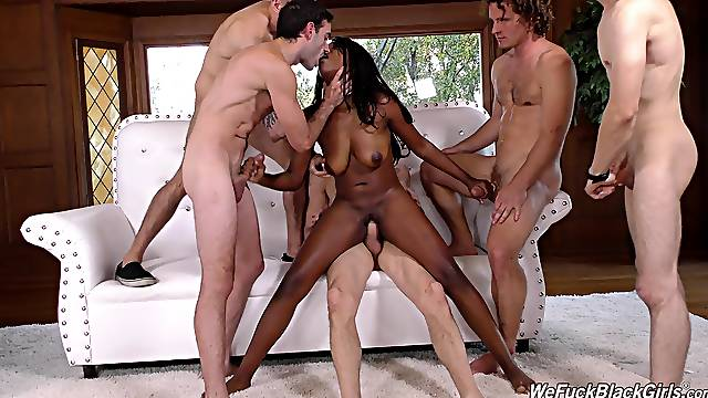 Ebony princess called Daya Knight enjoying her gangbang action