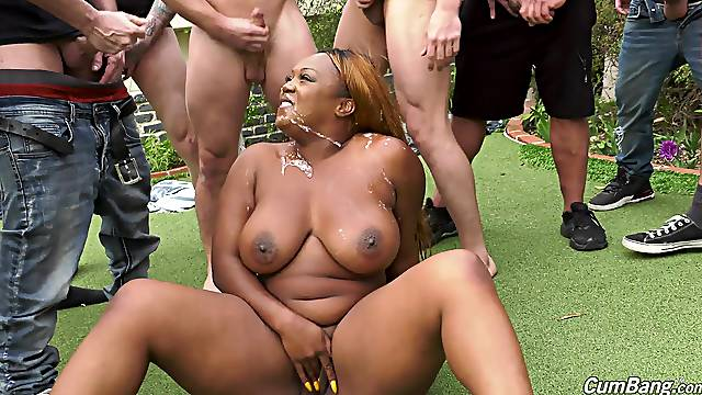 Outdoor gangbang and a face covered with cum for ebony Jayden Starr