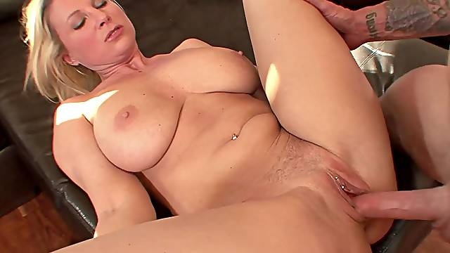 Blonde MILF bombshell Devon Lee rides dick and gets missionary fucked