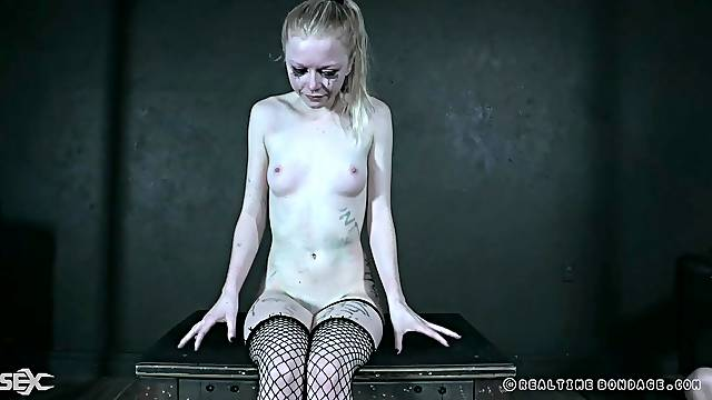 Submissive teen Alice tied up and spanked by a lesbian mistress