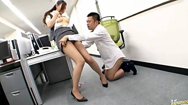 Wild fucking in the office with hot ass secretary Haruka Sasaki